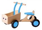 Image de Lichtblauwe houten bakfiets vierwieler-kinderloopfiets -Van Dijk Toys