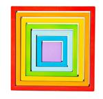 Afbeeldingen van Houten stapelpuzzel 7 vierkanten regenboog Bigjigs