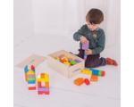 Bild von Houten blokken kliksysteem gekleurd 100 stuks in houten kist Bigjigs