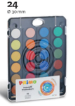 Afbeeldingen van Aquarelverf tablets 24 kleuren met penseel Primo