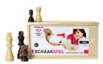 Afbeeldingen van Schaakstukken essenhout in kist. Koninghoogte 77mm.