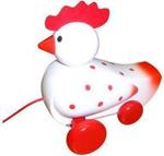 Afbeeldingen van Trekfiguur kip, wit met rode stippen