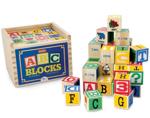 Bild von Alfabetblokken groot (4x 4 cm) 48 stuks in houten kist