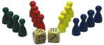 Afbeeldingen van Pionnenset 4x4 kleuren rood, geel, blauw en groen 24 mm