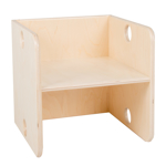 Image de Kleutergroep Kubusstoel - blanke zitting kinderstoel hout groepsgebruik  1-8 jaar  Van Dijk Toys