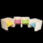 Afbeeldingen van Kleutergroep Kubusstoel - licht blauwe zitting kinderstoel hout groepsgebruik  1-8 jaar  35x 35 cm Van Dijk Toys