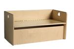 Afbeeldingen van Kleutergroep Kubus opbergbank - kinderbank hout met blanke klep-zitting en opbergvak  groepsgebruik  1 -8jaar  35x 35 x 70 cm Van Dijk Toys