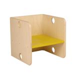 Afbeeldingen van Kleutergroep Kubusstoel - gele zitting kinderstoel hout  groepsgebruik  1-8 jaar  35x 35 cm Van Dijk Toys