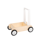 Afbeeldingen van Leren loopwagen- wit Blokkenduwwagen Hout Van Dijk Toys