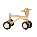 Afbeeldingen van Loopfiets berken hout blank Van Dijk Toys vierwieler kinderfiets