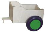 Afbeeldingen van Aanhanger voor groene kinder-loopfiets berkenhout Van Dijk Toys