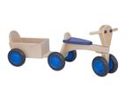 Afbeeldingen van Aanhanger voor blauwe kinder-loopfiets beukenhout Van Dijk Toys