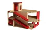 Afbeeldingen van Speel-garage hout met 2 verdiepingen en lift Van Dijk Toys