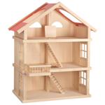 Afbeeldingen van Groot traditioneel poppenhuis Blank met rood en 3 etage's Goki