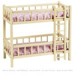 Afbeeldingen van Stapelbed massief blank hout met ladder