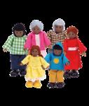 Afbeeldingen van Poppenhuis buig poppetjes Afrikaanse negroïde familie 6 stuks