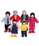Afbeeldingen van Poppenhuis buig poppetjes Aziatische familie  6 stuks