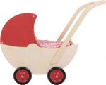 Afbeeldingen van Poppenwagen naturel met vaste rode kap hout van Dijk Toys