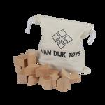 Afbeeldingen van Blanke blokkenset beukenhout met opbergzak 37 stuks Van Dijk Toys