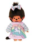 Afbeeldingen van Monchhichi meisje in eenhoorn pyjama