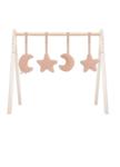 Afbeeldingen van Babygym speeltjes stof maan en sterren roze Jollein