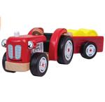 Afbeeldingen van Tractor rood met aanhangwagen met hooibalen Tidlo