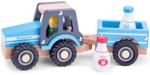 Afbeeldingen van Tractor met aanhanger Melk Blauw New Classic Toys
