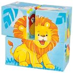 Afbeeldingen van Blokkenpuzzel Wilde dieren 4 blokjes Goki