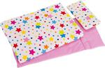 Picture of Poppenbedset dekje, matras en kussen - wit met vrolijke sterren Goki