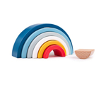 Afbeeldingen van Houten FSC regenboogvormen 7 bogen stoere kleuren Bigjigs