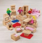 Afbeeldingen van Blank houten poppenhuis meubelset Bigjigs, zeer compleet met 4 bewoners