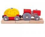 Afbeeldingen van Houten trein Rode tractor met hooiwagen Bigjigs