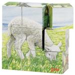 Afbeeldingen van Kubus- blokkenpuzzel hout 9 blokjes jonge boerderijdieren Goki