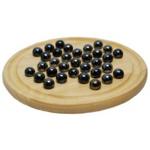 Picture of Solitair houten bord 22 cm met zwarte glazen knikkers