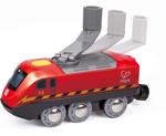 Afbeeldingen van Kunststof dynamo oplaadbare locomotief voor op houten treinbaan Hape