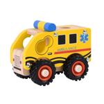 Afbeeldingen van Houten ambulance met rubber wielen