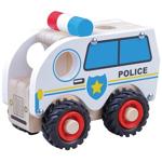 Afbeeldingen van Houten politieauto met rubber wielen