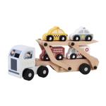Afbeeldingen van Houten autotransporter met 4 autos zilveren cabine
