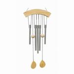 Picture of Windgong met 5 klankbuizen en houten windvang 70 cm